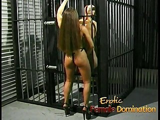 Slutty brunette playgirl gets to fuck her kinky prisoner hard
