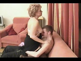 Hot russian mom in stockings is fucked by her son