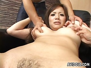 Sexy brunette slut getting fucked deep and hard