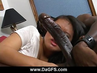 Fiery Asian stunner sucking freaky monster black cock