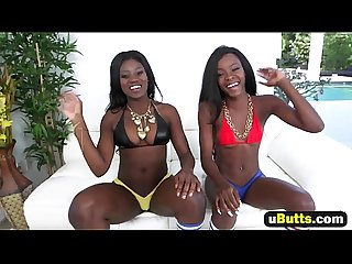 Kay and destinee bounce their big black butts in a 3some1080 2
