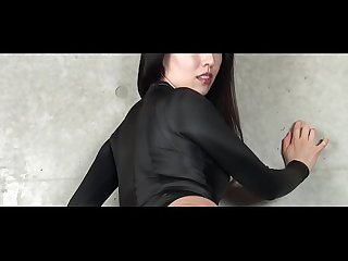 Asahi Sugawara High-leg leotard black and stockings legs,ass-fetish image video solo..