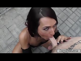 Petite tgirl gets naked in alley n suck before bareback anal
