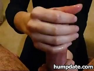 Husband gets nice and teasing cfnm handjob
