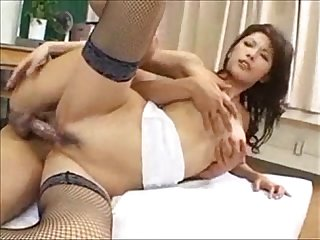 Busty asian teacher getting banged on classroom