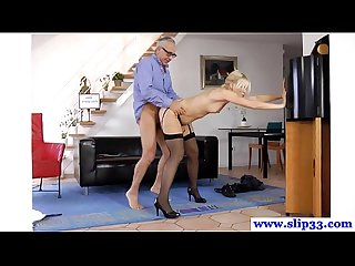 Tall euro beauty loves pleasuring geriatric