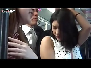 Horny young girl gets touched on public bus but she enjoys it