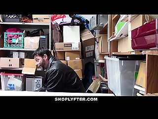 Shoplyfter shoplifting teen gets caught fucked in front of dad