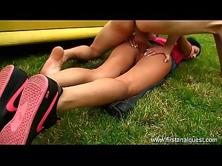 Firstanalquest com anal close up outdoors shows her gaping teen asshole