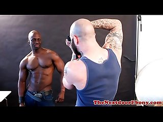 Black muscle stud riding white cock