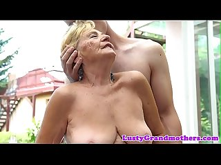 Euro granny with bigtits gets fucked outdoors