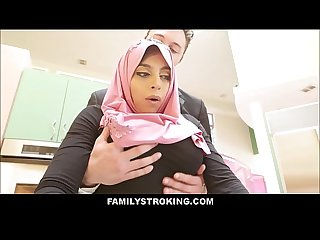 Thick big ass virgin muslim teen step daughter ella knox has sex with step dad after he accidentally