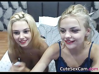 Sweet Blondie College Sisters Masturbating Anally on Webcam