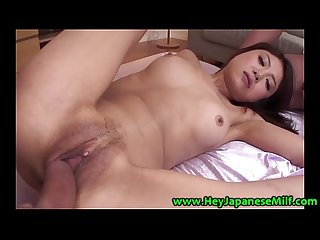 Japanese milf getting pussy fucked after sucking