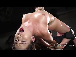 Hogtied slave fingered squirting