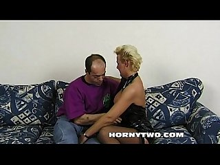 Chubby blonde milf sucking and getting fucked from behind hard deep long