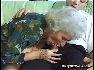 Crazy old mom gets big cock