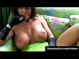 Smoking hot cougar deauxma bangs her cunt ass with a cigar