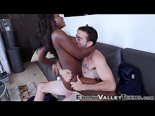 Ebony babe gets railed