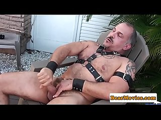 Mature leather daddy wanks off cumload
