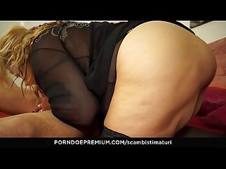 Scambisti maturi blonde italian bbw is the perfect newbie to be fucked by younger Stallion