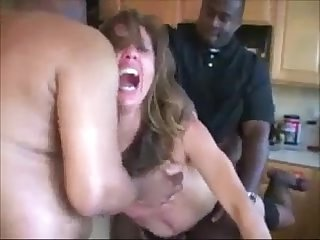 Wife in heels getting spit fucked in the kitchen more at www imlivex com