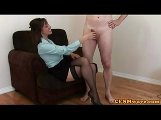 Cfnm milf loves tugging hard cock