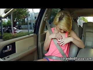 Dakota fucks in the car and she gets pounded by a pervy drivers monster cock