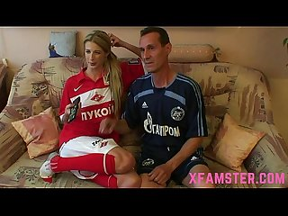 Pretty blonde young slim teen whore getting fucked by stepdad for facial