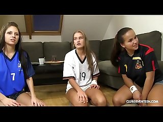 Lucky guy fucks his 3 world cup cheering teen neighbors