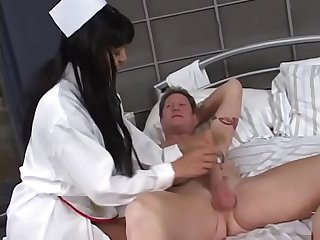 Horny Asian nurse babe Mika Tan with nice tits sucks and fucks a juicy dick in bed