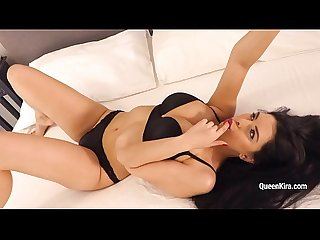 Kira Queen shows her body in sexy black lingerie and masturbates