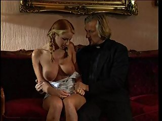 Young blonde lolita punished and fucked by pervert priest