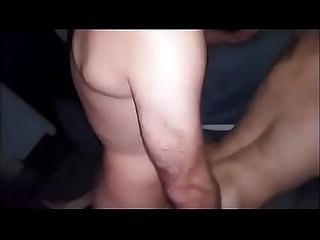 Hairy slut breeding again. Bareback gangbang of slim bottom